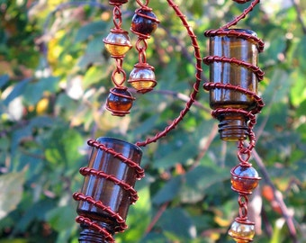 Garden Decoration Suncatcher, Set of 2 Amber Spirit Bottles with Copper Wrapped Coffee & Apricot Glass Marbles, Garden Decor, Yard Art
