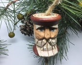 Folk Art Carved Santa Sewing Spool Ornament, Vintage Wood Turned Spool Saint Nick