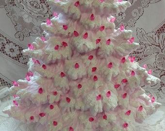 "17"" Frazier Fir Lighted Ceramic Christmas Tree - Pink"