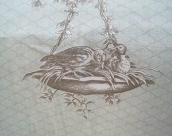 Martha Stewart Home French Toile Fabric Pale Apple Green Olive Mocha 1 3/8 Yard Drapery Upholstery Home Decor