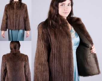 Donald Brooks Couture Vintage 1950s 50s Chestnut Brown MINK FUR Jacket Coat Small Medium S/M