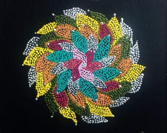 """Circle of leaves 8""""x8"""" black canvas board red yellow white green pink blue white"""