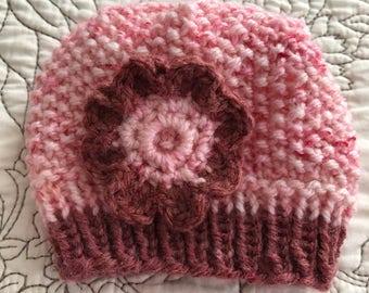Rouge Maroon Speckled Pink Newborn Baby Beanie Bonnet Hat