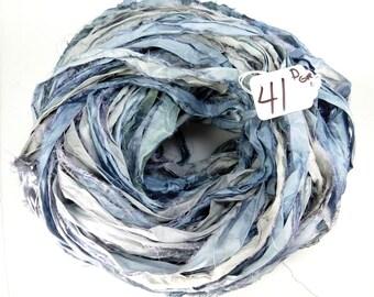 Sari Silk Ribbon, Recycled Silk Sari Ribbon, blue sari ribbon, Denim Sari ribbon, jewelry supply, weaving supply, knitting supply