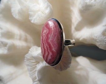 Beautiful Pink Rhodochrosite Ring Size 6.75