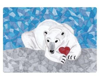 Printable Polar Bear Greeting Card, Heart, DIY Valentine Card, 5x7, 4.25x5.5, Blank Note Card, Bear Valentine, Instant Digital Download