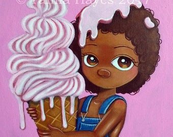 ORIGINAL Big Eye Art Acrylic Painting Lowbrow Pink Sugar Ice Cream Angel Tamia Chicasol