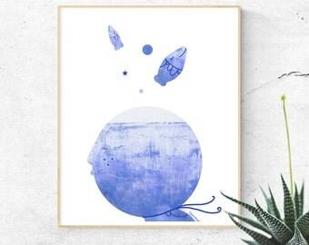 Sea Print, Hygge, Nautical Decor Nursery, Sea Art, Illustration Print, Minimalist Art, Scandinavian Poster, Wall Print