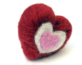 Needle Felted Tiny Valentines Day Heart Decoration Miniature - Felt Valentine - Pink Red and White Heart - Made to Order