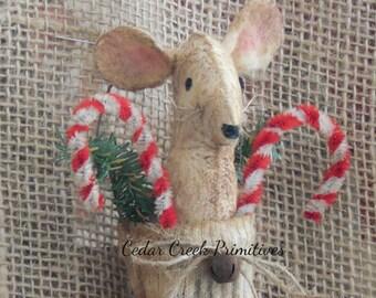 Folk Art Primitive Mouse in Stocking