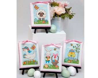 Easter Cuties Set of Four Cross Stitch Patterns Instant Download
