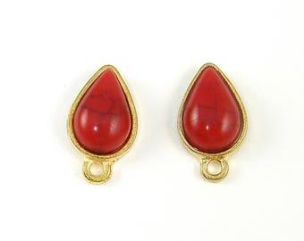 Red Gold Earring Posts, Red Teardrop Stud Earring Findings Earring Post with Loop |R5-9|2