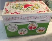 Vintage Metal Christmas Card Recipe Box - 12 days of Christmas