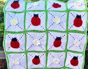 Ladybug crochet blanket, Ladybug blanket, Ladybug Afghan