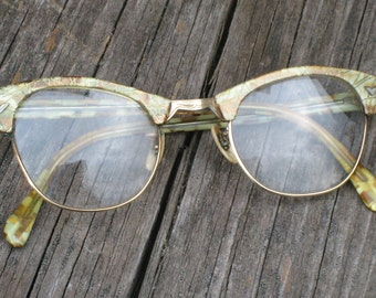 Vintage Eye Brow Browline Eyeglasses by Victory -  Vintage Glasses - Vintage Eyeglasses - Vintage Spectacles (4526-W)