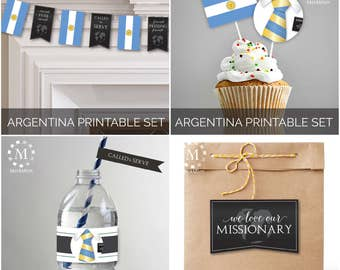 INSTANT DOWNLOAD - ARGENTINA -  Missionary Farewell Welcome Home Decoration Printable Set for Elders