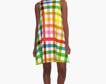 Colorful Woman Dress, Dress for Woman, A Line Dress, Modern Dress, Girl Dress, stripes Dress, Loose dress, Woman Dress, Gifts for her