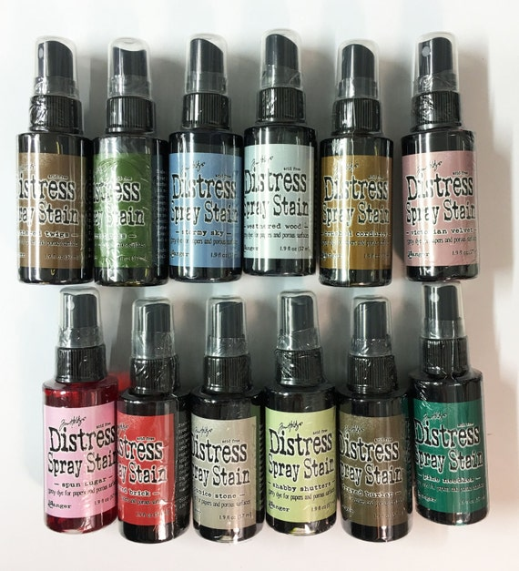 Tim Holtz Distress Spray Stain 12 Color Lot 1.9 oz Dye Ink for Paper and Porous Surfaces Create Weathered Finishes Altered Attic