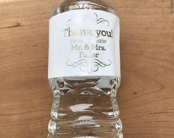 Gold Foil Waterproof Water Bottle Labels - Silver Foil Metallic Labels - Wedding Water Bottles - Party Drink Stickers - Flourish Mr & Mrs