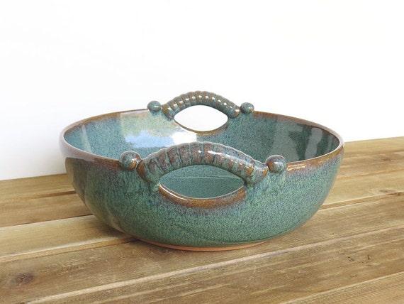 Sea Mist Stoneware Pottery Ceramic Serving Bowl, Two Handles, Rustic Kitchen, Home Decor