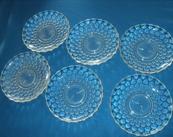Six Vintage Clear Bubble Pattern Coffee Cup Saucers