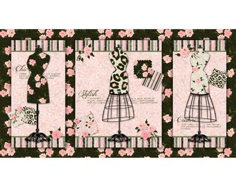 Mademoiselle Panel-  Pink-Cotton Fabric- from SPX -Quilt - *By the Panel- Dress Forms.