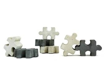 Concrete magnets | puzzle magnets set | modern gift idea | minimalist office decor | jigsaw magnets | concrete decor