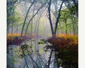 ON SALE 35% Autumn, Forest, Water, Pond, Trees, Landscape, Nature Photograph, Fine Art Painted Photograph, Giclee Print