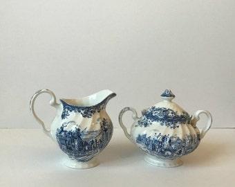 vintage Johnson Brothers creamer and sugar - coaching scenes - regency blue