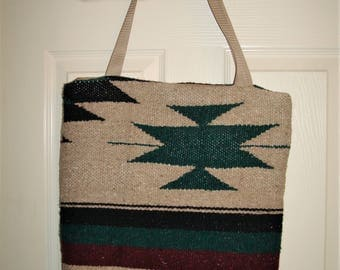 Serape Beige, Green and Maroon  Heavy Fabric Tote Bag Made in the USA 16 X 16 X 3