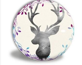 Pocket Mirror - Deer Head Mirror, Watercolor Deer M018