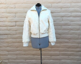 Vintage Wilson White Rabbit Fur Bomber Jacket Sz M TORN