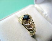 RESERVED..Vintage 10kt Yellow Gold Sapphire and Diamond Flower Engagement Ring