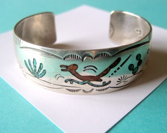 Gene Gibson Sterling Silver Inlay Cuff Signed