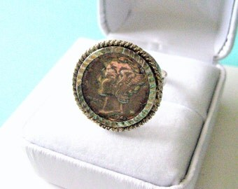 1942 Winged Liberty Dime and Sterling Silver Ring Size 9