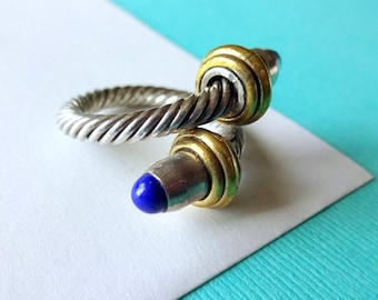 Sterling Silver and Brass Cable Ring with Lapis Gemstones
