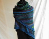 One of A KindHandknit Fashion Shawl In Jewel Tones of Blues and Greens With Hand painted Yarns