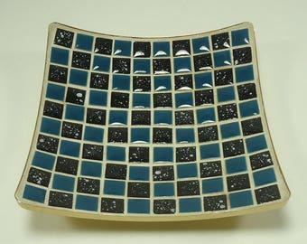 Vintage Mosaic Tile Tray  Mid Century Atomic Retro Black, Teal, Gold