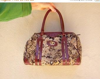 30% OFF SALE Vintage tapestry bag / 70s 80s floral brocade bag / burgundy leather carpet tote handbag