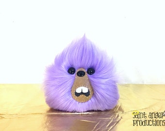 Light Purple Monster Furry Blob Plush, Weird Fluffy Lavender Handmade Fuzzy Plushie, READY TO SHIP