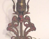 Antique  - Iron Lamp Base - Decorative Design - with Harp..Re -Wired - Ready to Use