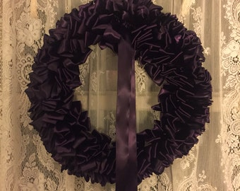 Wreath Mourning Wreath Plum Ribbon 18 inch Sympathy Ready to Ship In Remembrance In Memorium Love Always