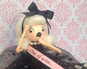 Out of wine ornament doll drama quesn black and pink vintage retro inspired art doll party decor
