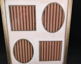 Vintage  Gold Metal 8 x 10 Picture Frame with Mat for Four Smaller Pictures