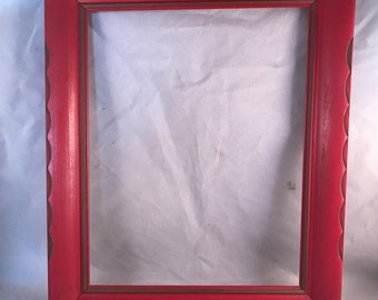 Vintage Large Red Painted Wood 11 x 14 Frame