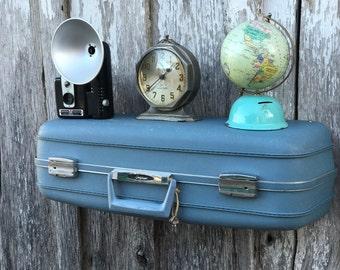 Vintage  Blue 1960's Era Oshkosh Upcycled Suitcase Repurposed into Wall Shelf