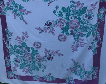Vintage Purple, Pink and White Floral Print Cutter Tablecloth