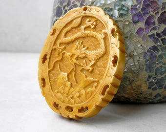 Carved Bone Pendant Vintage Chinese Dragon Fish Antiqued Bone Ethnic Pendant For Jewelry Making