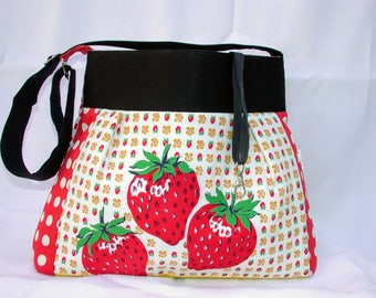 Vintage wilendur Patchwork-red strawberries -Brooch embellished Handbag -adjustable-Messenger -Shoulder Bag- BagZGirl