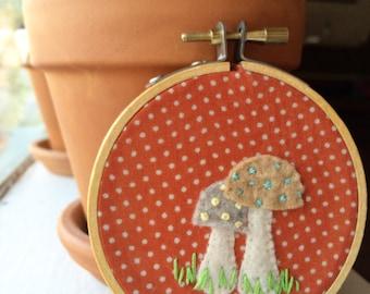 Mushroom nursery hoop art